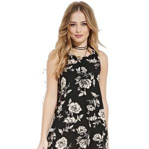 Forever21 XS black shift dress with beige flowers